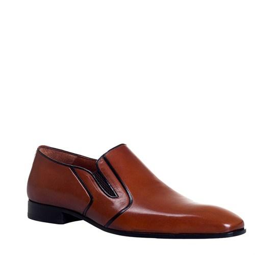 Cabani Bağcıksız Klasik Erkek Ayakkabı Taba Antik Deri
