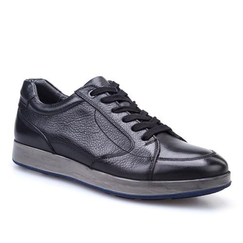 Cabani Bağcıklı Spor Günlük Erkek Ayakkabı Siyah Deri