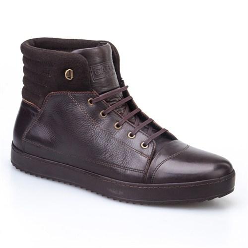Cabani Bağcıklı Uzun Günlük Erkek Ayakkabı Kahve Kırma Deri