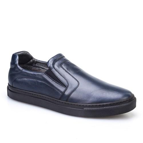 Cabani Dikişli Sneaker Erkek Ayakkabı Lacivert Soft Deri