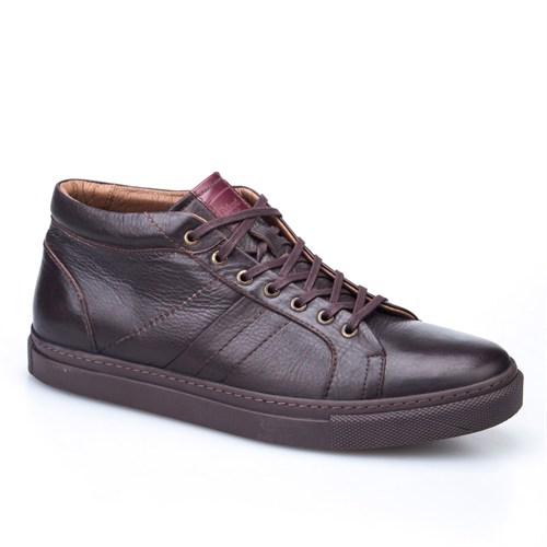 Cabani Bağcıklı Yarım Günlük Erkek Ayakkabı Kahve Kırma Deri