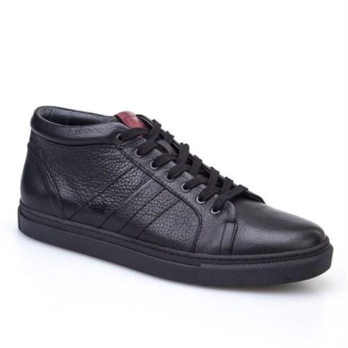 Cabani Bağcıklı Yarım Günlük Erkek Ayakkabı Siyah Kırma Deri