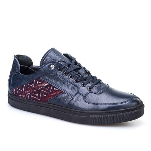 Cabani Bağcıklı Spor Günlük Erkek Ayakkabı Lacivert Kırma Deri
