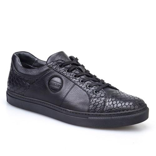 Cabani Yılan Baskı Günlük Erkek Ayakkabı Siyah Yılan Deri