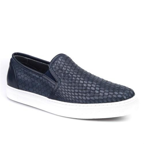 Cabani Yılan Baskı Sneaker Erkek Ayakkabı Lacivert Deri