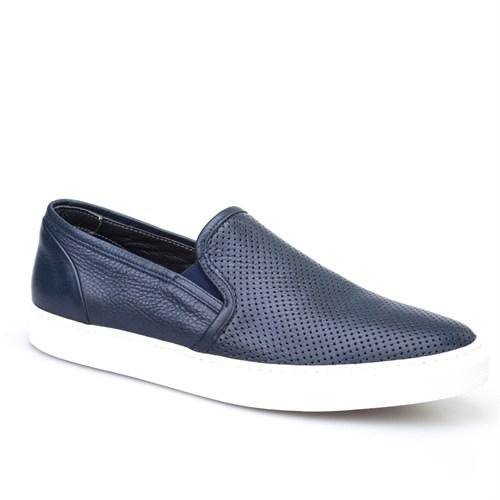 Cabani Yılan Baskı Sneaker Erkek Ayakkabı Lacivert Kırma Deri