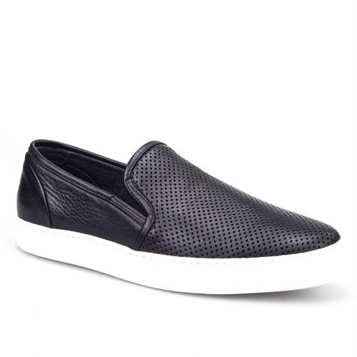 Cabani Yılan Baskı Sneaker Erkek Ayakkabı Siyah Kırma Deri