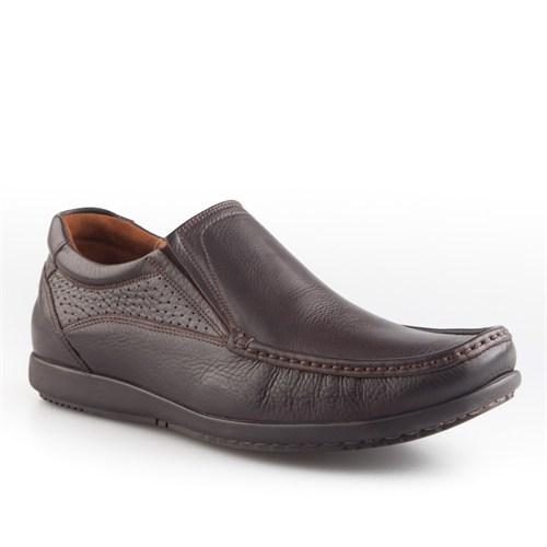 Cabani Lastikli Günlük Erkek Ayakkabı Kahve Kırma Deri