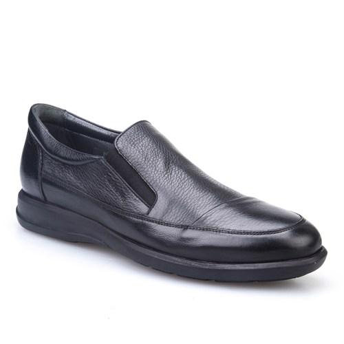 Cabani Bağcıksız Hakiki Deri Erkek Ayakkabı Siyah Kırma Deri