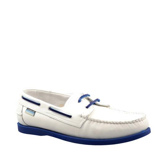 Cabani Marin Tekne Günlük Erkek Ayakkabı Beyaz Flap Deri
