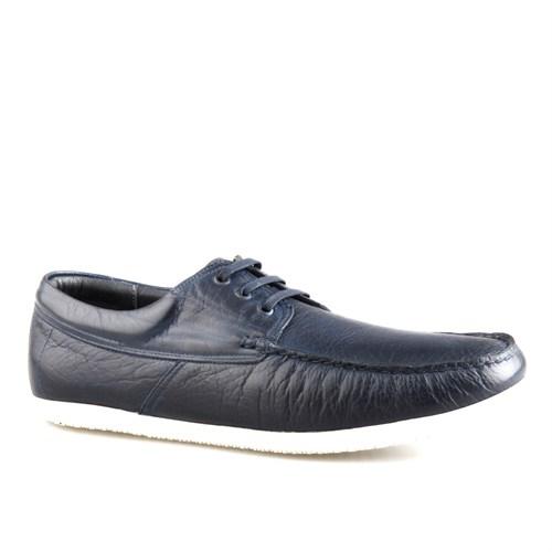 Cabani Bağcıklı Günlük Erkek Ayakkabı Lacivert Kırma Deri