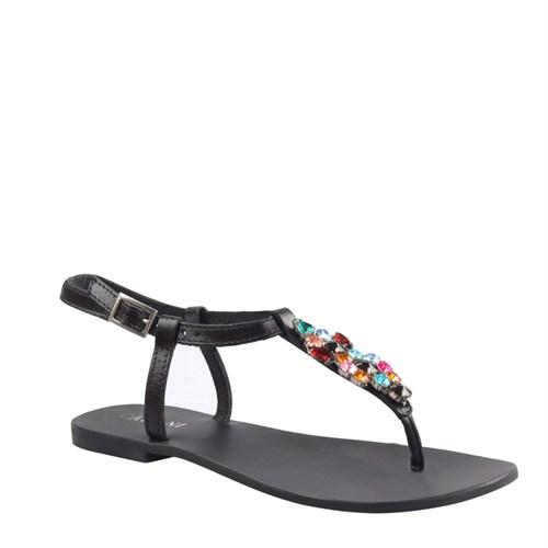 Cabani Parmak Arası Günlük Kadın Sandalet Siyah Deri