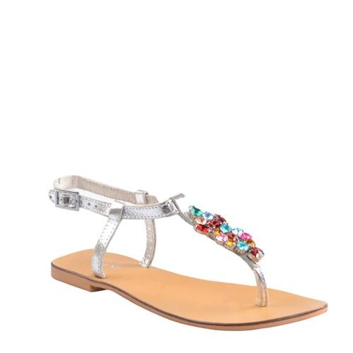 Cabani Parmak Arası Günlük Kadın Sandalet Gri Deri