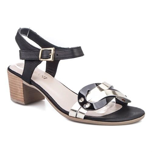 Cabani Topuklu Günlük Kadın Sandalet Siyah Deri