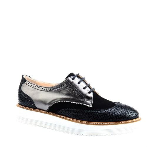 Cabani Oxford Günlük Kadın Ayakkabı Siyah Deri