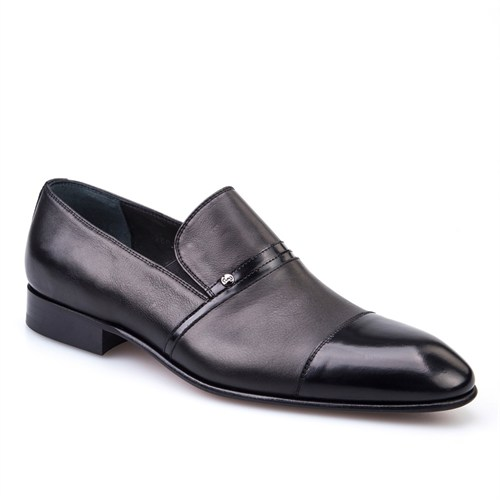Cabani Bağcıksız Klasik Erkek Ayakkabı Siyah Analin Deri