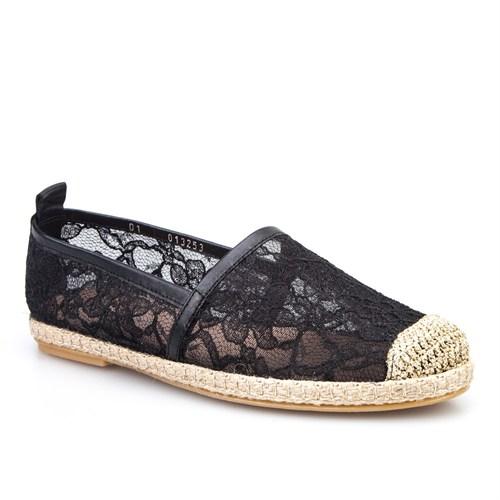 Cabani Dantelli Günlük Kadın Ayakkabı Siyah Deri