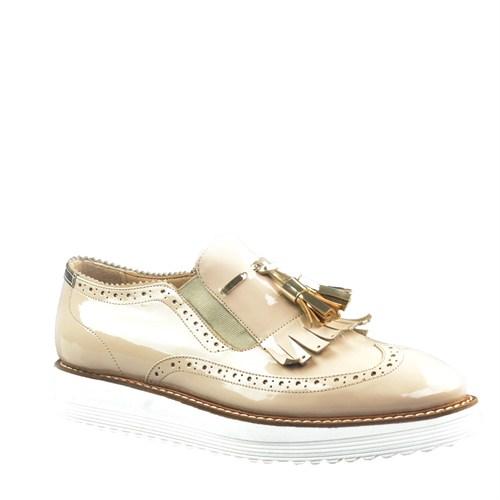 Cabani Oxford Günlük Kadın Ayakkabı Bej Rugan