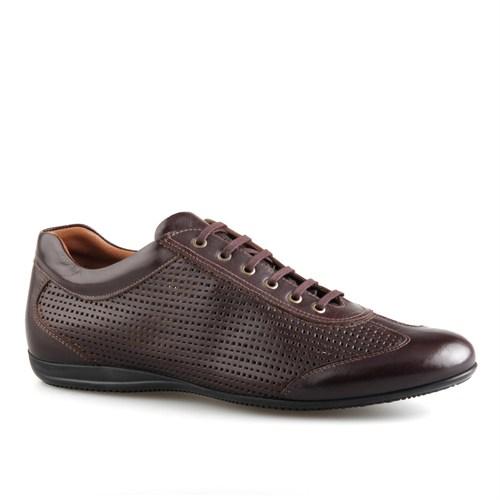 Cabani Lazerli Günlük Erkek Ayakkabı Kahve Buffalo Deri