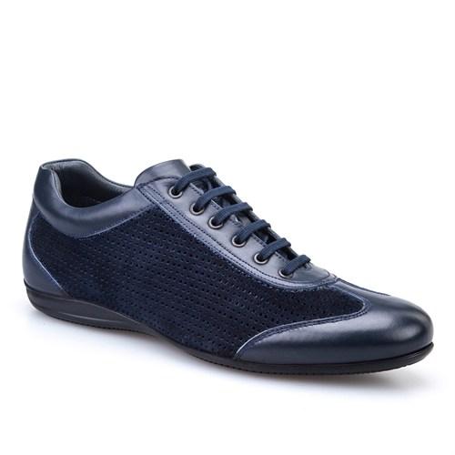 Cabani Lazerli Günlük Erkek Ayakkabı Lacivert Soft Deri