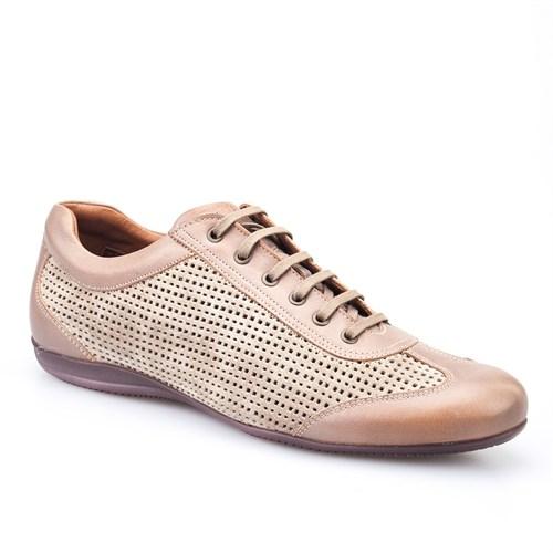 Cabani Lazerli Günlük Erkek Ayakkabı Bej Soft Deri