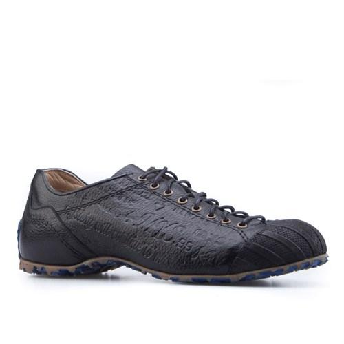 Cabani Özel Tasarım Günlük Erkek Ayakkabı Siyah Kırma Deri