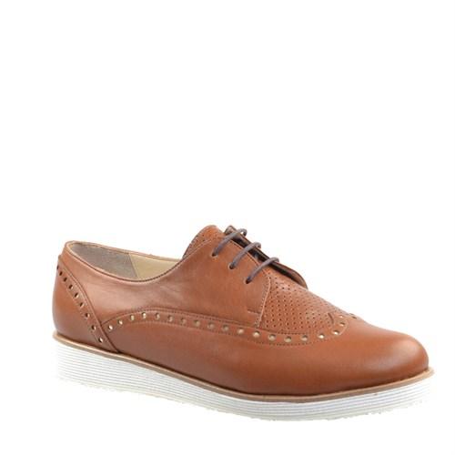Cabani Taşlı Günlük Kadın Ayakkabı Taba Deri