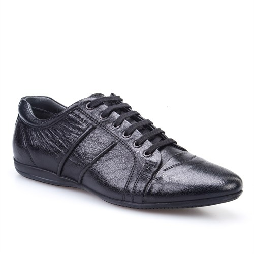 Cabani Bağcıklı Günlük Erkek Ayakkabı Siyah Buffalo Deri