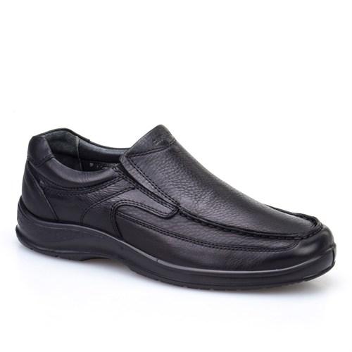 Cabani Bağcıksız Günlük Erkek Ayakkabı Siyah Kırma Deri