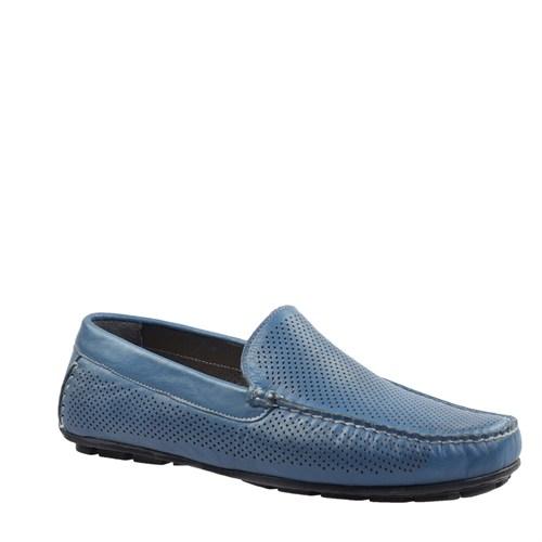 Cabani Lazerli Makosen Günlük Erkek Ayakkabı Mavi Deri