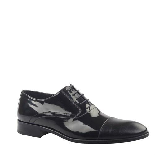 Cabani Croco Baskı Klasik Erkek Ayakkabı Siyah Rugan