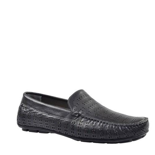 Cabani Lazerli Makosen Günlük Erkek Ayakkabı Siyah Buffalo Deri