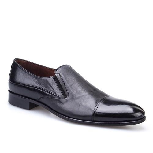 Cabani Bağcıksız Klasik Erkek Ayakkabı Siyah Buffalo Deri