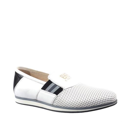 Cabani Lazerli Günlük Erkek Ayakkabı Beyaz Soft Deri