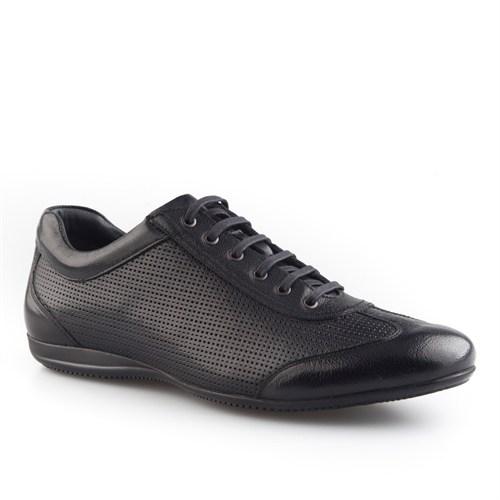 Cabani Lazerli Günlük Erkek Ayakkabı Siyah Buffalo Deri