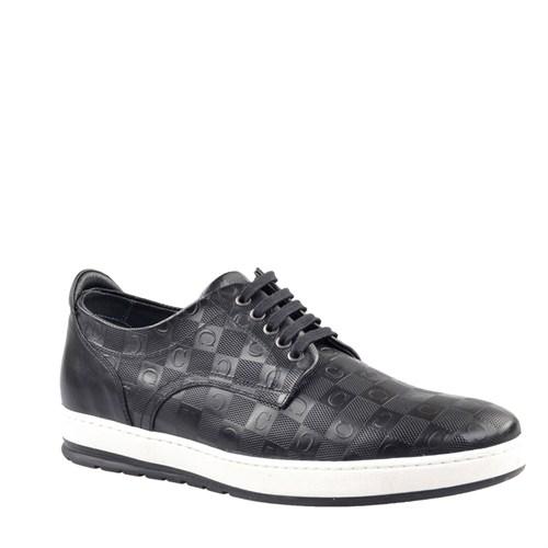 Cabani Baskılı Günlük Erkek Ayakkabı Siyah Soft Deri
