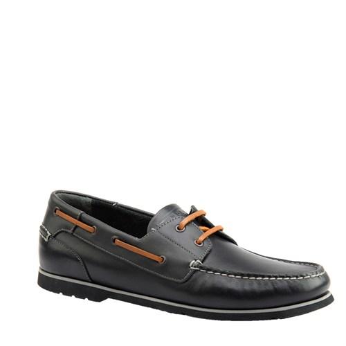 Cabani Marin Tekne Günlük Erkek Ayakkabı Siyah Flap Deri