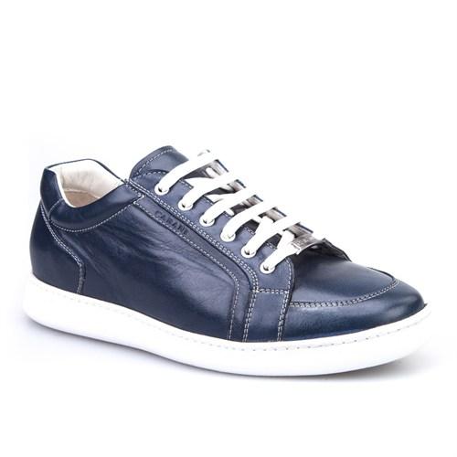 Cabani Bağcıklı Spor Günlük Erkek Ayakkabı Mavi Deri