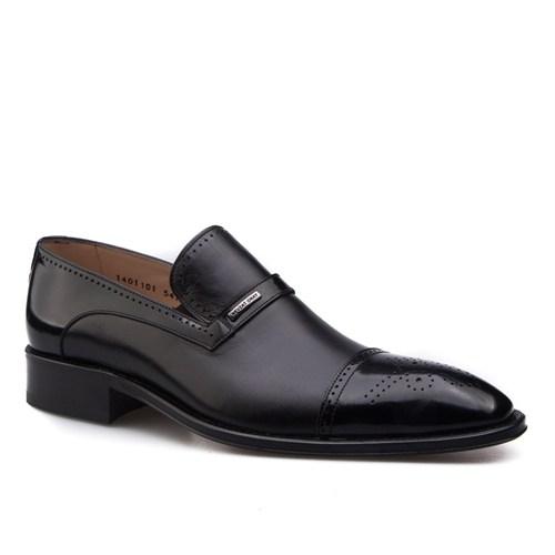 Nevzat Onay Bağcıksız Klasik Erkek Ayakkabı Siyah Analin Deri
