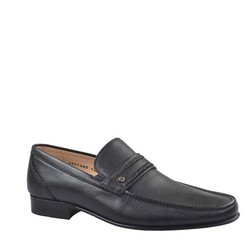 Nevzat Onay Bağcıksız Klasik Erkek Ayakkabı Siyah Kırma Deri