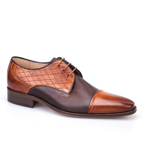 Nevzat Onay Baklava Desenli Klasik Erkek Ayakkabı Taba Deri