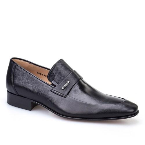 Nevzat Onay Kemerli Klasik Erkek Ayakkabı Siyah Kırma Deri