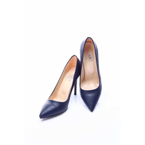 Shoes&Moda Lacivert Cilt Kadın Stiletto Ayakkabı 509 6 Nz015983