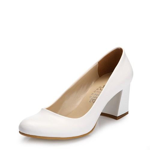 Sothe MAS-016 Beyaz Bayan Klasik Topuklu Ayakkabı