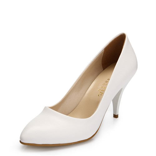 Sothe MAS-017 Beyaz Bayan Klasik Topuklu Ayakkabı