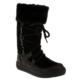 Perlina 454-1 Tüylü Konç Çapraz Bağlı Siyah Çocuk Çizme