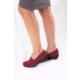 Gön 22392 Bordo Streçe Bordo Deri Kadın Ayakkabı