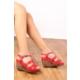 Gön 25836 Kırmızı Antik Deri Kadın Sandalet