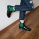 Modabuymus Honop Yeşil Siyah Parlak Lastikli Yağmur Botu