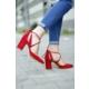 İnce Topuk Bilekten Çapraz Bağlı Topuklu Ayakkabı 7YAZA0105553